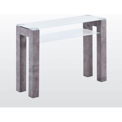 Tivoli Large Console Table - Glass And Concrete Effect