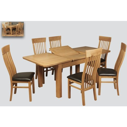 Treviso Oak Butterfly Extending Dining Table And 6 C...