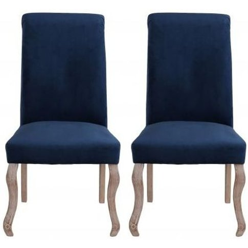 Dark Blue Fabric Dining Chair With Wooden Legs (Pair...