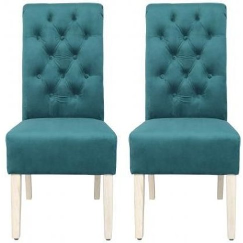 Dark Green Velvet Fabric Dining Chair With Wooden Le...