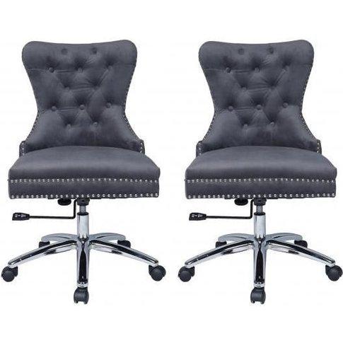 Grey Velvet Fabric Office Chair With Chrome Legs (Pair)