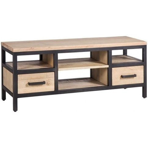 Forge Whitewashed Oak Industrial 2 Drawer Small Tv Unit