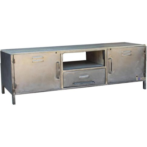 Industrial Metal 2 Door 1 Drawer Tv Unit