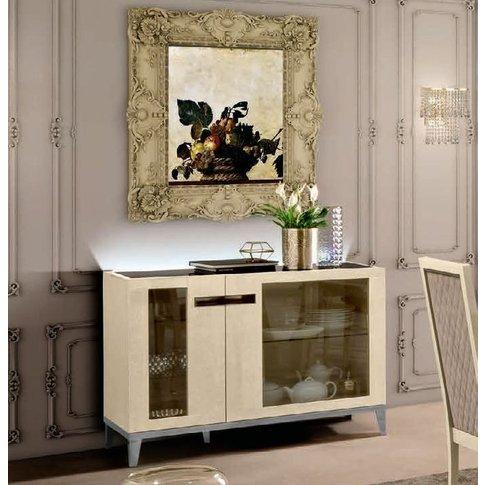 Camel Ambra Ivory Italian 2 Glass Door Buffet Sideboard