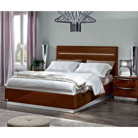 Camel Onda Walnut Italian Legno Bed With Luna Storage