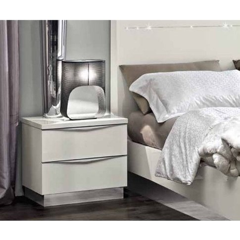 Camel Onda White Italian Bedside Cabinet