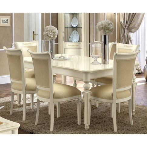 Camel Torriani Day Ivory Italian Extending Dining Table