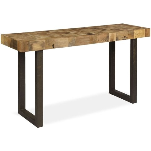 Boston Reclaimed Wood Mosaic Console Table with Iron...