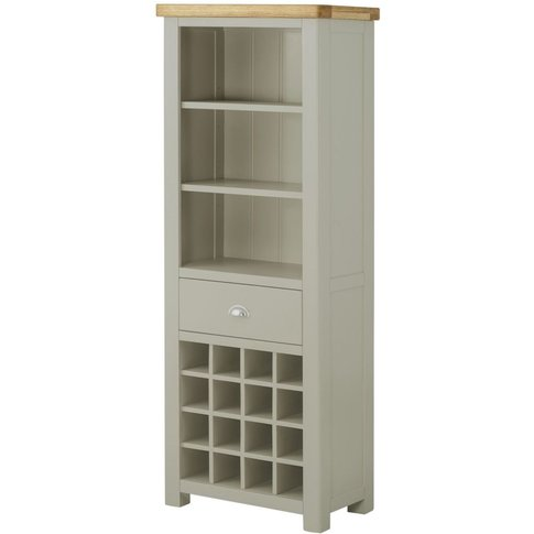 Classic Portland Bookcase With Wine Holders - Stone ...