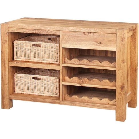 Forest Solid Oak Wine Rack with Baskets - 1507