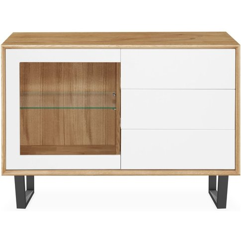 Modena Solid Oak Small 1 Door 3 Drawer Sideboard - 206