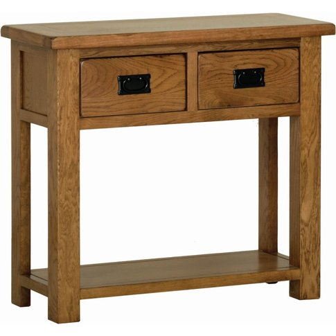 Rustic Oak 2 Drawer Console Table By Devonshire