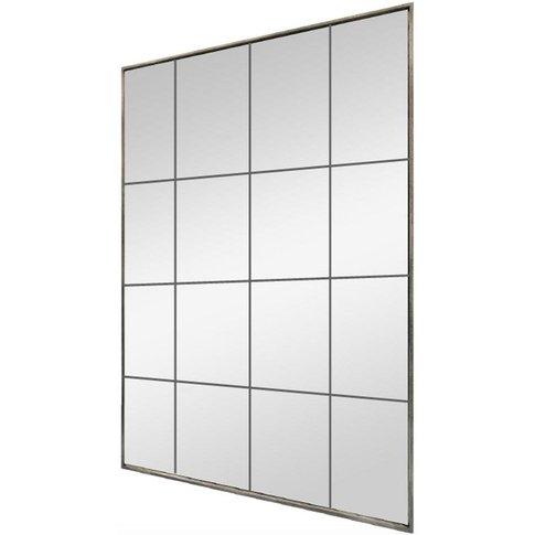 Distressed Metal Rectangular Window Mirror - 90cm X ...