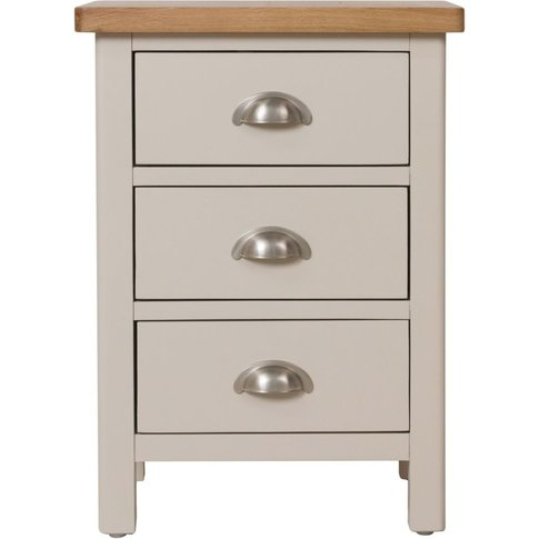 Portland Dove Grey Painted 3 Drawer Bedside Cabinet