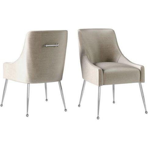 Claudia Mink Velvet And Chrome Dining Chair (Pair)