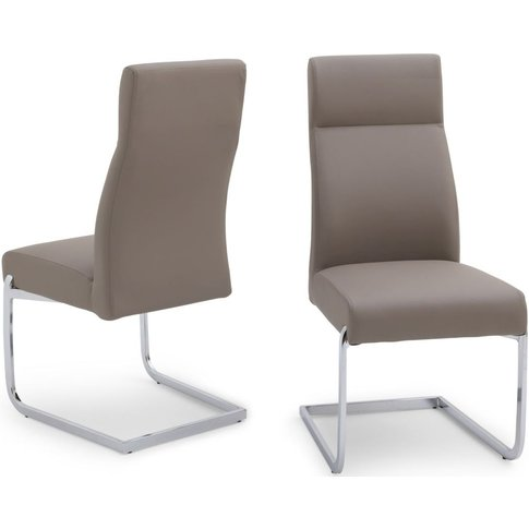 Dante Taupe Faux Leather Dining Chair With Chrome Le...