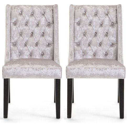 Gemma Silver Velvet Fabric Dining Chair With Wooden ...