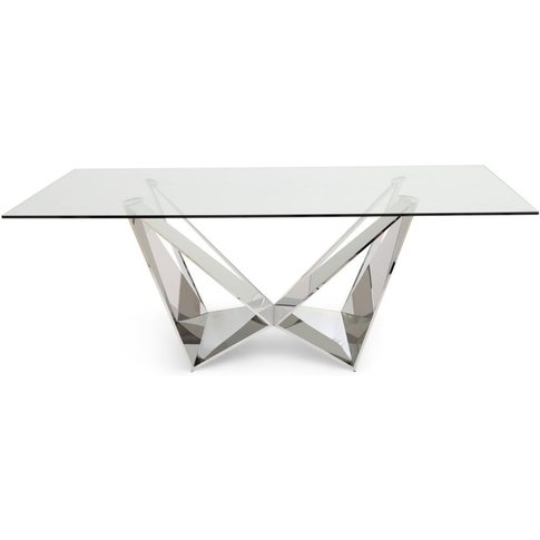 Florentina Glass Dining Table With Stainless Steel B...