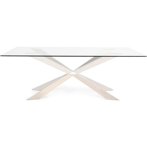 Gabriella Glass Dining Table With Stainless Steel Ba...