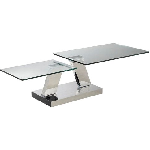 Sparta Glass Coffee Table With Stainless Steel Base ...