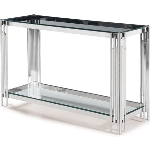 Vasari Glass Console Table With Stainless Steel Frame