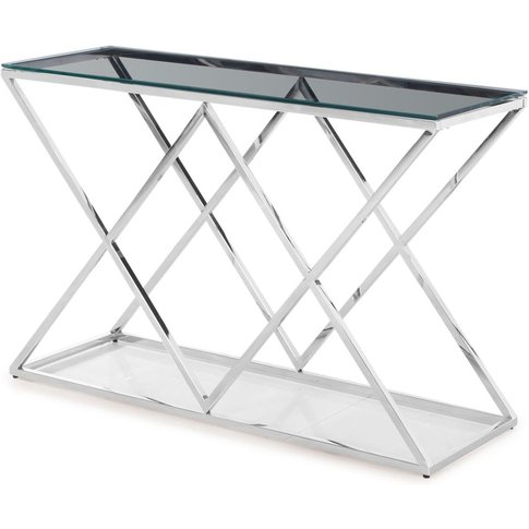 Victor Glass Console Table With Stainless Steel Frame