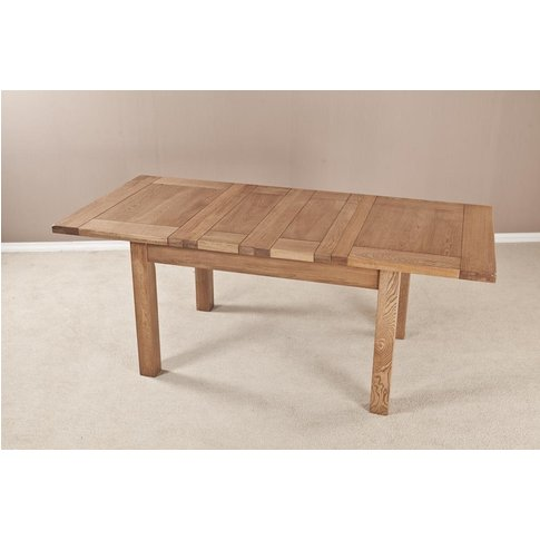 Country Oak Dining Table - 4ft 6in Extending With 2 ...