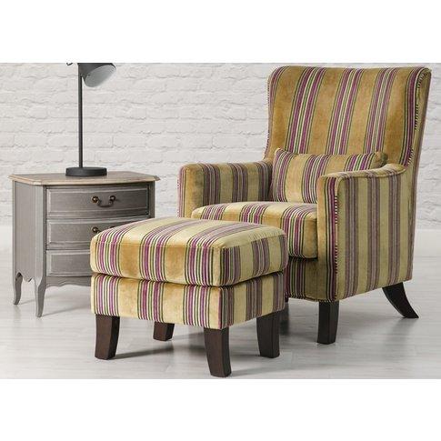 Monet Gold Stripe Fabric Accent Chair