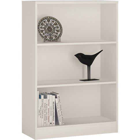 Mario Pearl White Bookcase - Medium Wide