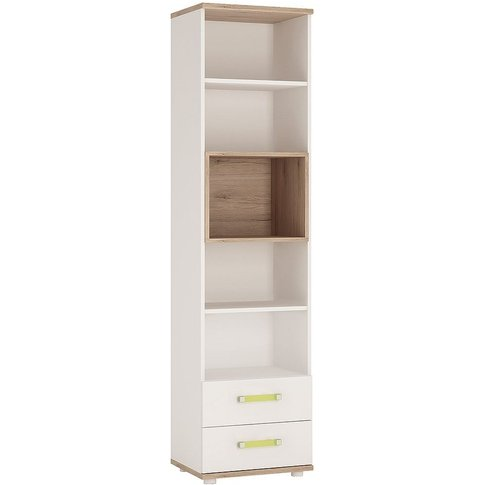 Taranto Light Oak And White Bookcase - Tall 2 Drawer...