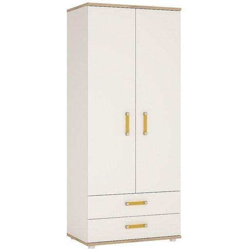 Taranto Light Oak And White 2 Door Double Wardrobe -...
