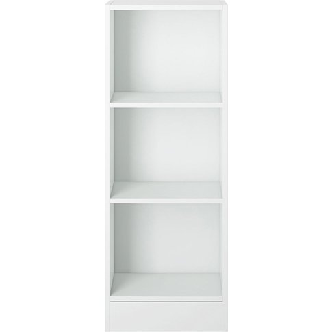 Basic White Low Narrow Bookcase
