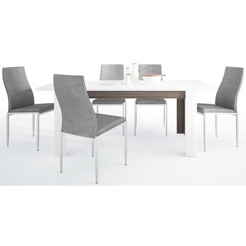 Chelsea Extending Dining Table And 6 Milan Grey Chai...