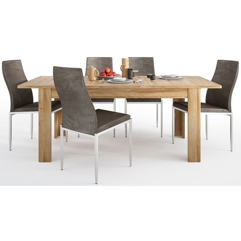 Cortina Grandson Oak Extending Dining Table And 4 Mi...