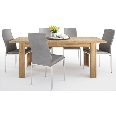 Cortina Grandson Oak Extending Dining Table And 6 Mi...