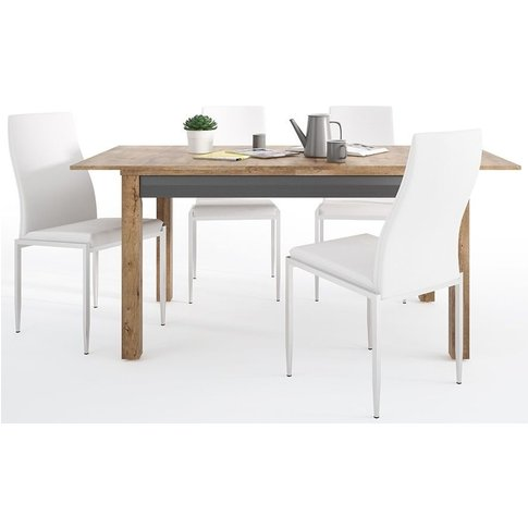 Havana Extending Dining Table And 4 Milan White Chai...
