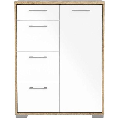 Homeline 1 Door Combi Sideboard - Oak And White High...