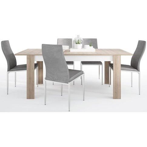Lyon Large Extending Dining Table And 4 Milan Grey C...