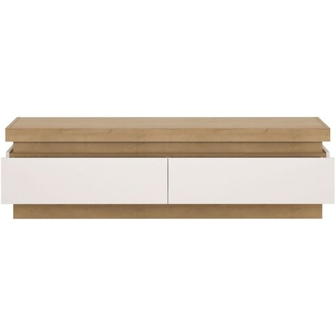 Bari Riviera Oak And White High Gloss Tv Cabinet - 2 Drawer (Including Led Lighting)