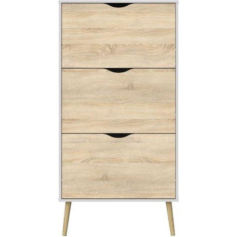 Oslo Shoe Cabinet - White And Oak