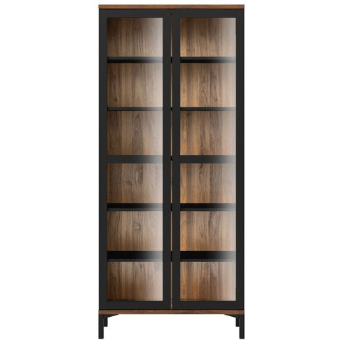 Roomers Glazed Display Cabinet - Black And Walnut