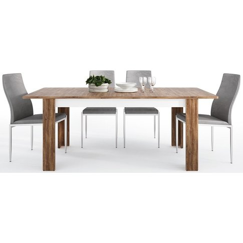Toledo Extending Dining Table And 4 Milan Grey Chairs - Oak And High Gloss White