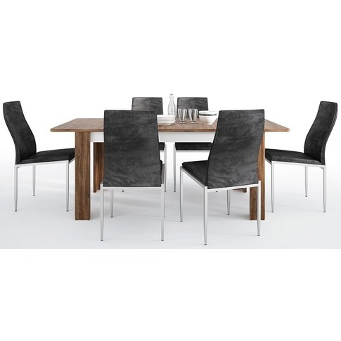 Toledo Extending Dining Table And 6 Milan Black Chai...