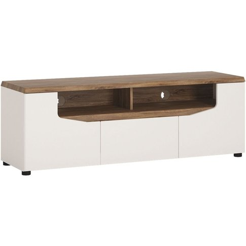 Milan White And High Gloss Tv Unit - 2 Door 1 Drawer