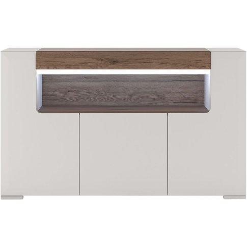 Largo Sideboard - 3 Door Open Shelving With Plexi Li...