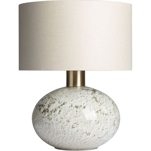 Heathfield Orion Suede Glass Table Lamp With Stone G...