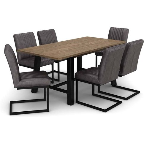 Wilber Oak Industrial Extending Dining Table And 6 G...