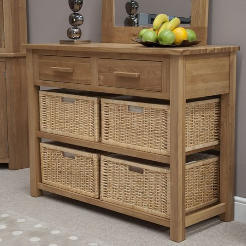 Homestyle Opus Oak Console Table With Basket