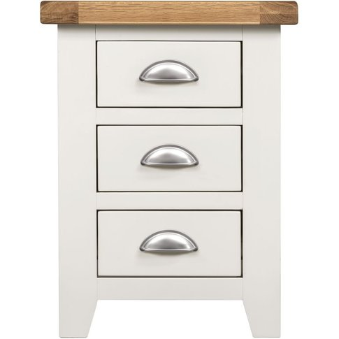 Lundy White Bedside Cabinet - 3 Drawer