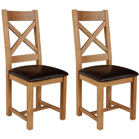 Lyon Oak Dining Chair - Cross Back With Pu Seat (Pair)